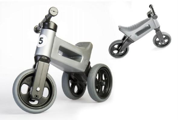 Odrážedlo FUNNY WHEELS  NEW SPORT 2v1 šedé výška sedadla nastavitelná 28/31cm nosnost 50kg 18m+