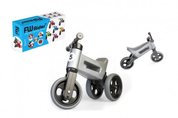 Odrážedlo FUNNY WHEELS Rider Sport šedé 2v1, výška sedla 28/30cm nosnost 25kg 18m+ v krabici