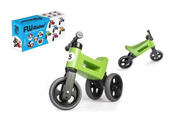 Odrážedlo FUNNY WHEELS Rider Sport zelené 2v1, výška sedla 28/30cm nosnost 25kg 18m+ v krabici
