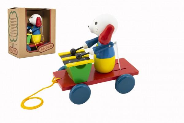 Pes s xylofonem dřevo tahací 20cm v krabičce