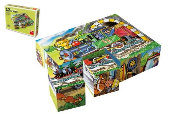 Kostky kubus Mašinka dřevo 12ks v krabičce 16x12x4cm