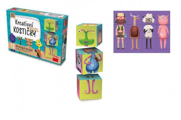 Kostky kubus Příšerky dřevo 12ks v krabičce 16,5x12x4cm