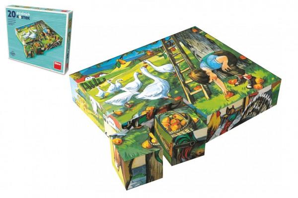 Kostky kubus Zvířátka Statek dřevo 20ks v krabičce 20x16x4cm