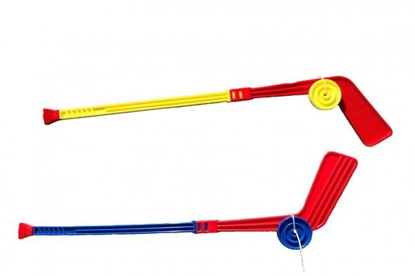 Hokejka plastová s pukem 74cm mix barev
