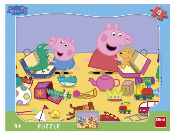 Puzzle deskové Peppa Pig si hraje Prasátko Peppa/Peppa Pig 12dílků 37x29cm ve fólii