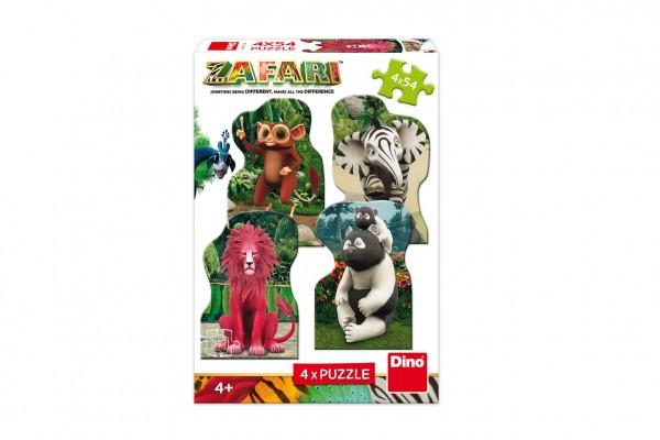Puzzle 4v1 Zafari: Zoomba a kamarádi v krabici 19x27,5x4cm