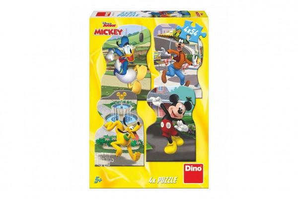 Puzzle Mickey ve městě 4x54 dílků v krabici 27x19x4cm