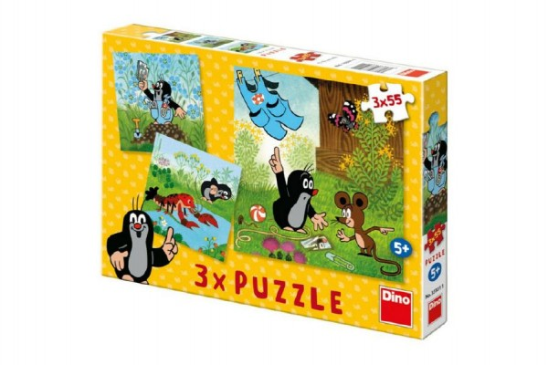 Puzzle Krtek a kalhotky 18x18cm 3x55 dílků v krabici 27x19x3,5cm