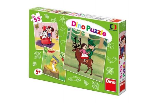 Puzzle České pohádky 3x55 dílků v krabičce 27,5x19x3,5cm