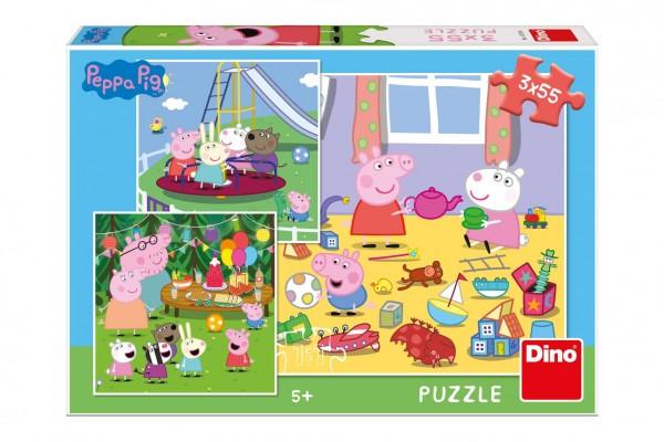 Puzzle Peppa Pig na prázdninách 3x55 dílků v krabici 27x19x4cm