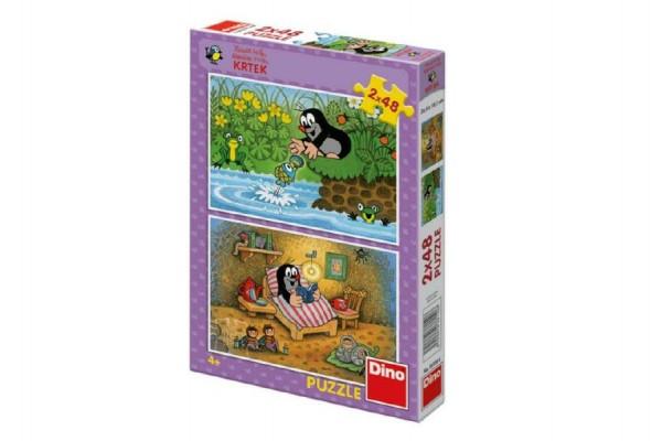 Puzzle Krtek a perla 2x48dílků v krabici 27x19x3cm
