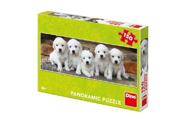 Puzzle pět štěňátek panoramic 66x23cm 150 dílků v krabici 27x19x4cm