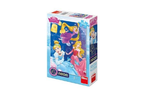 Puzzle Disney Princezny neon 100 XL dílků v krabici 20x29x6cm