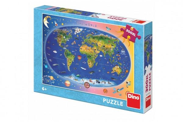 Puzzle Dětská mapa světa ilustrovaná 300XL dílků 47x33cm v krabici 27x19x4cm
