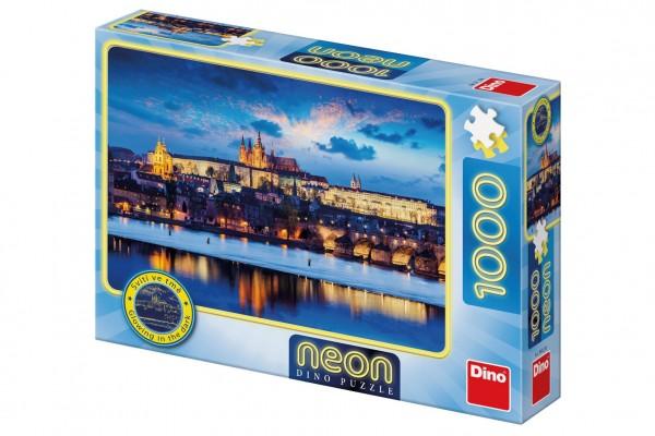 Puzzle Pražský hrad svítící ve tmě 1000 dílků 66x47cm v krabici 32x23x7cm