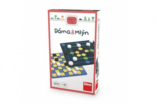 Dáma a Mlýn 2v1 cestovní společenské hry v krabičce 11,5x18x3,5cm