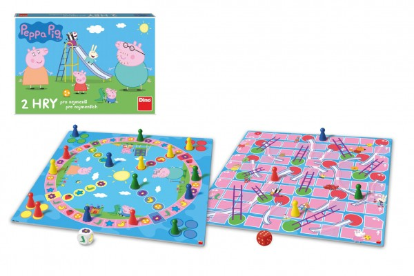 Pojď se hrát/Žebříky a skluzavky 2 společenské hry Prasátko Peppa/Peppa Pig v krabici 33x23x3cm