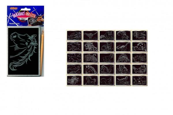 Škrabací obrázek stříbrný 15x10cm 24ks v boxu