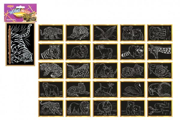 Škrabací obrázek zlatý 15x10cm 24ks v boxu