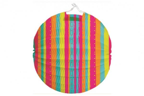Lampion průměr 21cm pruhovaný v sáčku (bez hůlky) karneval