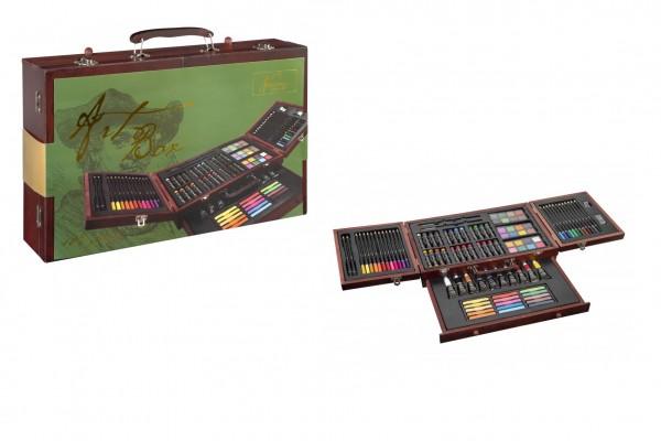 Sada na malování - Art box kreativní sada 103ks v dřevěném kufříku ve fólii 38x26x9cm