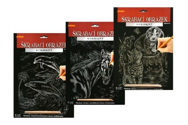 Škrabací obrázek stříbrný asst 3 druhy 20x25cm