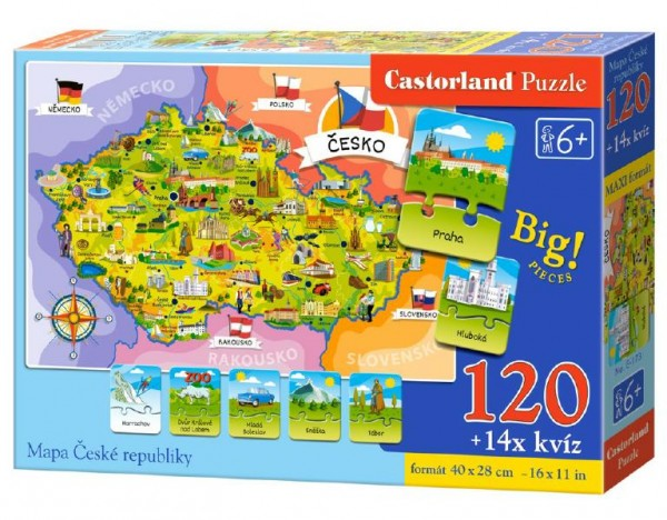 Puzzle Mapa České republiky 120 dílků + 14 kvízů naučné 40x28cm v krabici