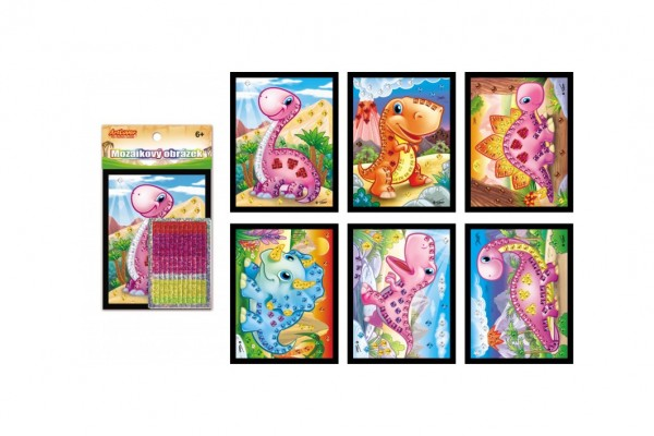 Mozaika obrázek mini dinosaurus třpytivý 10x12cm mix druhů 24ks v boxu