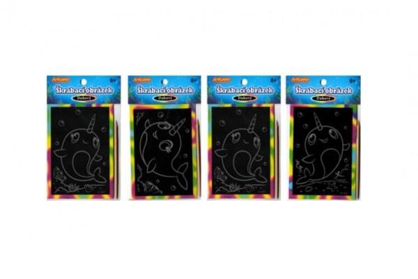 Škrabací mini obrázek duhový 8,5x12cm 4 druhy v sáčku 36ks v boxu