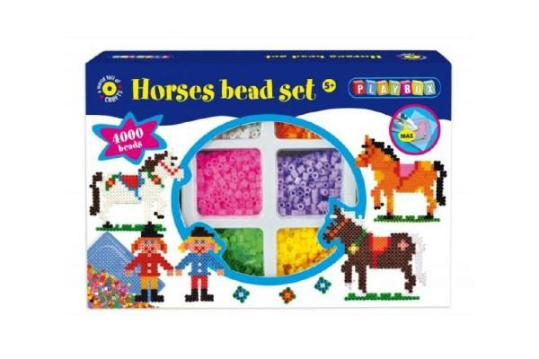 Zažehlovací korálky koně + podložka 4000ks v krabici 28x19x5cm