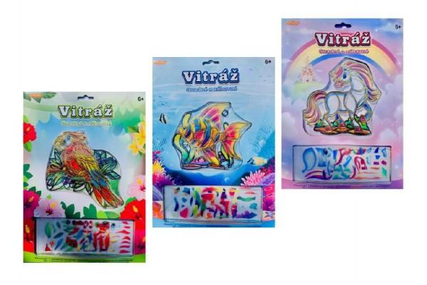 Vitráž kreativní obrázek 13x13cm asst 3 druhy na kartě