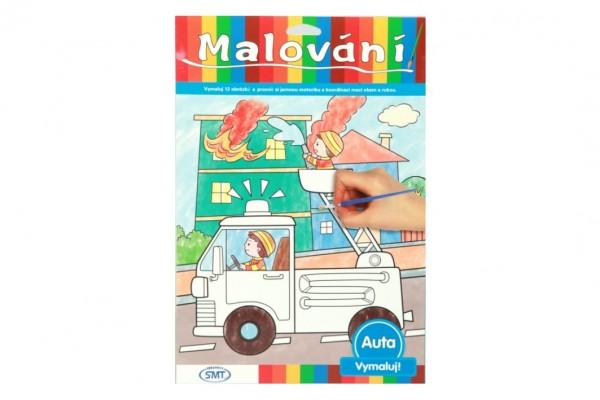 Malování auta omalovánky 12ks A4 s barvami a se štětcem na kartě