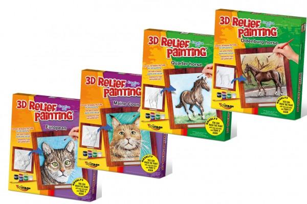 3D plastový reliéfní obrázek s barvami 6ks, rámečkem a štětcem mix druhů v krabičce 20x22,5x3cm