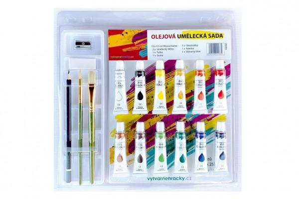 Barvy olejové 12ml  12ks se štětci 2ks s blokem s doplňky na kartě 31x31cm