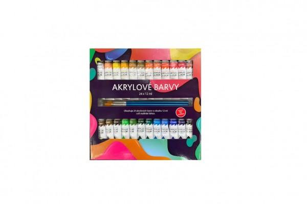 Akrylové barvy 24x12ml se štětcemi 3ks v krabičce 22x22x2cm