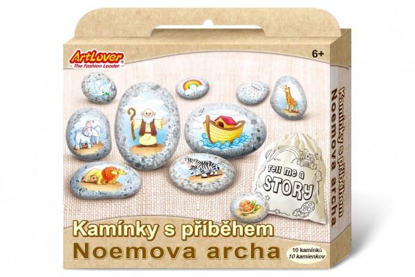 Kamínky s příběhem se samolepkami Noemova archa  kreativní sada  v krabičce 19x16x4cm