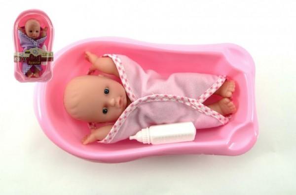 Panenka/miminko Agusia pevné tělo 17cm s vaničkou 22cm asst 2 barvy 12ks v boxu
