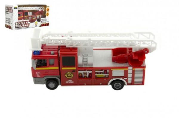 Auto hasiči městské služby plast 17cm na baterie se zvukem se světlem v krabici 19x10x7cm