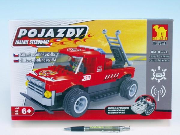 Stavebnice Dromader Auto RC Hasiči 20113 na vysílačku na baterie 185ks v krabici 34x21x7cm