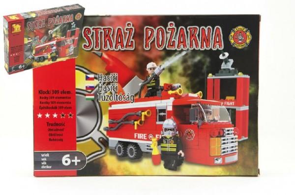 Stavebnice Dromader Hasiči Auto 21601 309ks v krabici 35x25,5x5,5cm