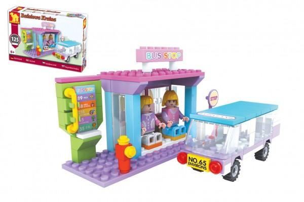 Stavebnice Dromader Pohádková země pro holky autob. zastávka 125 dílků v krabičce 22x15x4,5cm