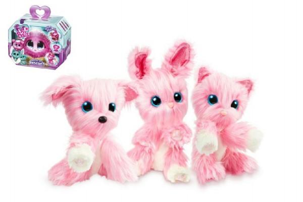 Zvířátko FUR BALLS Touláček pejsek/kočka/králík růžový plyš 10cm s doplňky v krabici 24x20x10cm