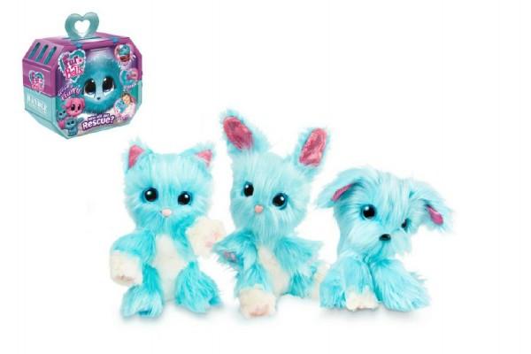 Zvířátko FUR BALLS Touláček pejsek/kočka/králík modrý plyš plast 10cm s doplňky v krabici 24x20x10cm