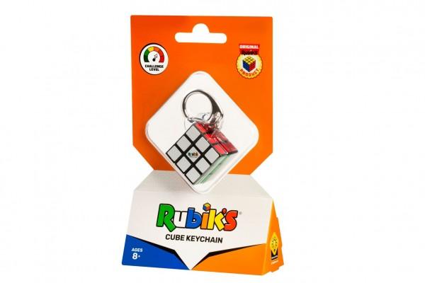 Rubikova kostka hlavolam 3x3x3 přívěšek plast 3x3x3cm na kartě