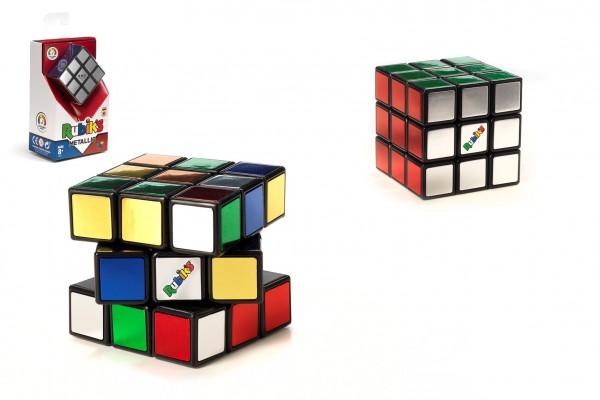 Rubikova kostka hlavolam 3x3x3 Metallic plast v krabici  9x15x6cm