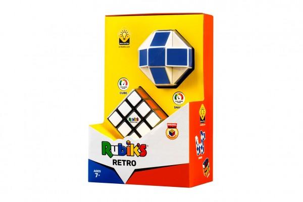 Rubikova kostka sada 2ks retro plast kostka 3x3x3, had v krabičce 14x22x8cm