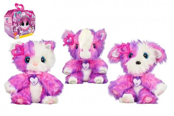 Zvířátko FUR BALLS plyš Touláček pejsek/kočička/poník růžový s doplňky v krabici 24x20x10cm