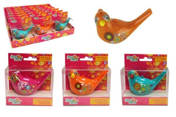 Píšťalka vodní ptáček se šňůrkou plast 10cm asst 6 barvy v krabičce 10x11x4,5cm