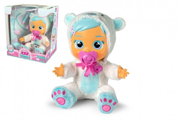 CRY BABIES interaktivní nemocná panenka/miminko Kristal na baterie s doplňky v krabici 33x34x20cm