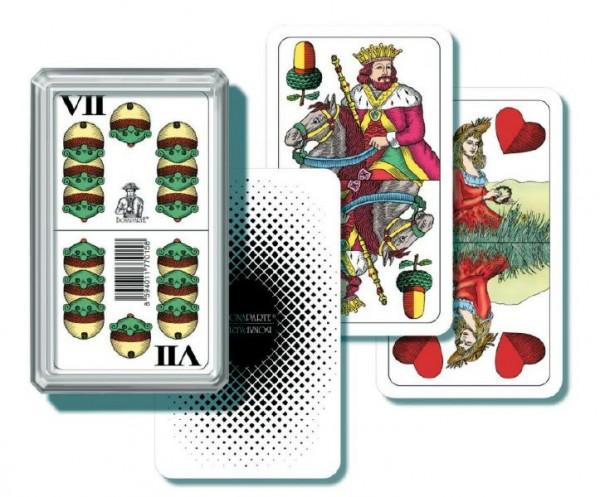 Mariáš dvouhlavý společenská hra karty v plastové krabičce 6,5x10,5x2cm